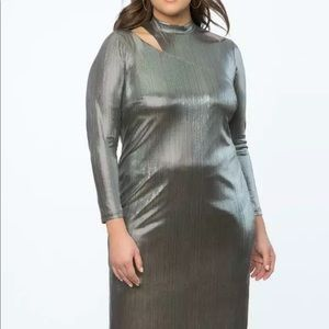 Eloquii Silver Foil Party Dress Size 18W NWT